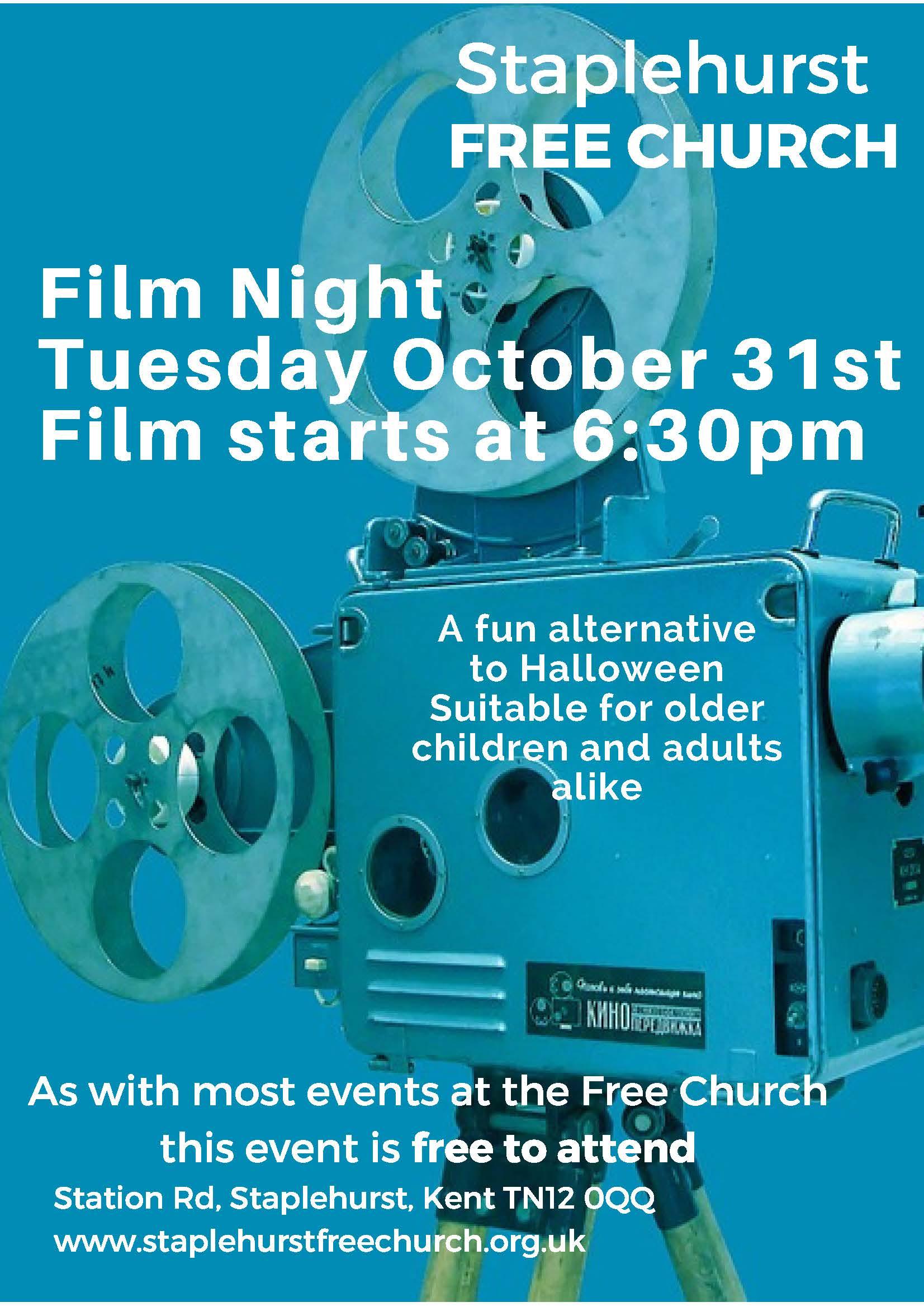 Film Night 31st October 6:30pm